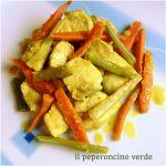 Pollo al curry con carote e sedano in salsa di soia per lo #scambioricette